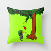 Link Legend Of Zelda with an apple tree Decorative Throw Pillow Cushion case by Three Second