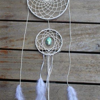 Hand made large white two piece dream catcher