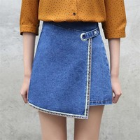Yichaoyiliang Women A Line Embroidery Denim Skirts High Waist Patchwork Asymmetric Jeans Skirts Summer Casual Skirts Above Knee
