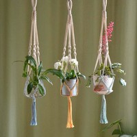 Hand Woven Wall Hanging Rope Hanging Flower Gardening Decor Wall Tapestries Holder for Small Plants Succulent Cactus Flower Pot