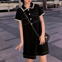 """Miu Miu"" Temperament Fashion Lapel Short Sleeve Polo Shirt Dress"