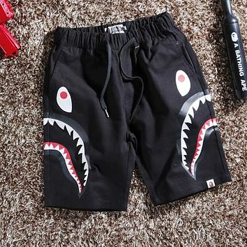 Bape Aape Newest Popular Men Women Casual Shark Mouth Print Shorts Black