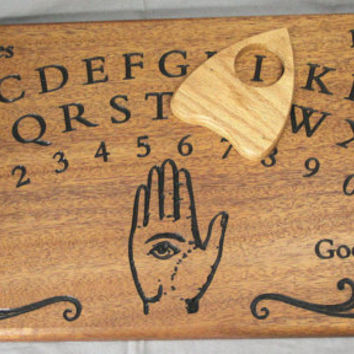 Engraved Figured African Mahogany Wood - Ouija Board W. Planchette - Game Spirit Talking Divination