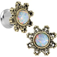 0 Gauge Steel White Synthetic Opal Flower Screw Fit Saddle Plug Set