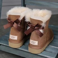 UGG : girl Large bow tie Keep warm Snow boots-13