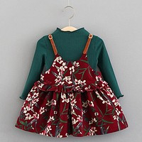 Girls  Spring Floral dress with Crew Neck Shirt