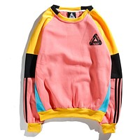 Palace Popular Women Men Comfortable Color Matching Long Sleeve Round Collar Three Stripe Sweater Pullover Top Pink I12568-1