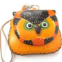 Handmade Owl Bird Animal Coin Purse with Wrist Strap and Key Chain from Dotoly Plus