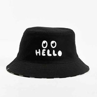 Lazy Oaf Hello Reversible Bucket Hat- Black One