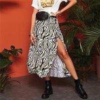 Boho Multicolor Split Thigh Zebra Print A-Line Skirts Womens Mid Waist Casual Vacation Sexy Flared Long Skirt