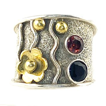 Garnet & Black Onyx Sterling Silver Floral Band Ring