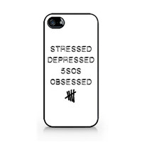 IPC-504 - Stressed - Depressed - 5SOS Obsessed - 5SOS - 5 Seconds of Summer - iPhone 4 / 4S / 5 / 5C / 5S / Samsung Galaxy S3 / S4 / S5