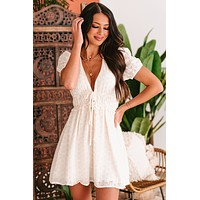 Stolen Dreams Plunging Eyelet Lace Dress (Natural)