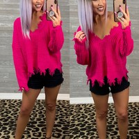 Fuchsia Distressed Sweater