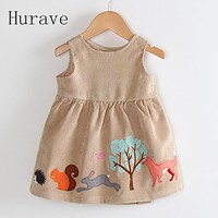 Hurave 2017 cartoon girls dress kids clothing Corduroy children summer fashion new brand dress princess baby girl clothes