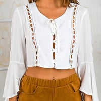 White Lace-Up Crop Top – Lookbook Store