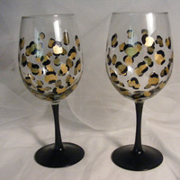 READY TO SHIP painted leopard print wine glasses birthday or wedding, bridesmaids, bachelorette or girls night out