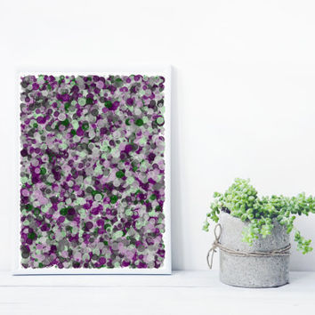 Abstract Art based on Math, inspired by Jackson Pollock. Mystic Rose splatter_purpleGreen, Limited Edition 8x10 Giclee print
