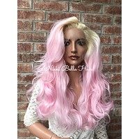 Blond Pink Swiss Human Hair Blend Multi Parting Lace front wig 10' 4177