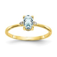 10k Yellow Gold Polished Natural Diamond & Natural Aquamarine Birthstone Ring