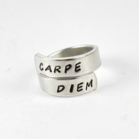 Carpe Diem Wrap Ring, Inspirational Quote Ring Latin Word Hand Stamped Aluminum Ring Aphorism Ring, Seize The Day, Motivational Jewelry