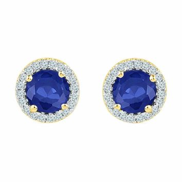 10kt Yellow Gold Women's Round Lab-Created Blue Sapphire Diamond Stud Earrings 1-1-2 Cttw - FREE Shipping (US/CAN)