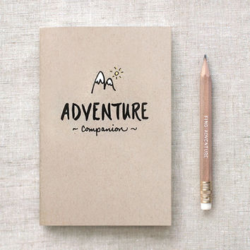 Traveler's Notebook - Hand Lettered Adventure Companion Travel Journal & Gold Foil Pencil Set, Stocking Stuffer Brown Recycled Notebook
