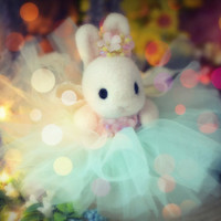 Handmade flower rabbit doll, needle felted bunny with tulle dress, bunny with tutu, mint color dress , kids gift, gift under 40