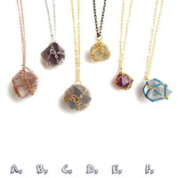Fluorite Necklace, Geometric Crystal Necklace,  Chain Wrapped Crystal, Octahedron Fluorite