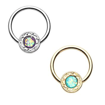 Gold & Silver Ornate Round Opal Steel Captive Bead Ring
