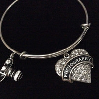 Photography Crystal Heart Charm with Camera Expandable Bracelet Silver Wire Bangle Handmade Trendy Gift Wedding