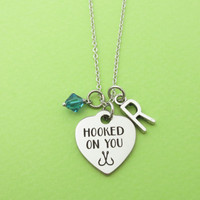 Personalized, Birthstone, Letter, Initial, HOOKED ON YOU, Heart, Silver, Necklace, Lovers, Friends, Friendship, Gift