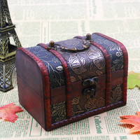 Retro Wooden Jewelry Box Flower Pattern Jewelry Container Necklace Bracelet Earrings Storage Case