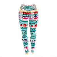 "Famenxt ""Love Pattern"" Teal Yellow Yoga Leggings"