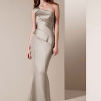 One Shoulder Satin Dress with Asymmetrical Skirt - David's Bridal