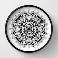 Black mandala Wall Clock by Juliagrifol Designs