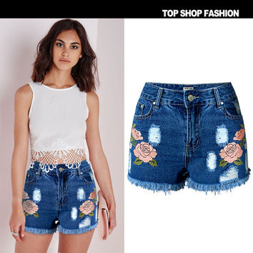Sexy Women Girl Summer High Waist Ripped Hole Wash Denim Jeans Shorts Pants = 4721874244