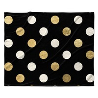 "KESS Original ""Golden Dots"" Black Gold Fleece Throw Blanket"