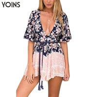 YOINS New 2017 Sexy Women Plunge V-neck Cut Out Flared Sleeve Jumpsuit Romper Fashion Floral Print Playsuit with Open Back