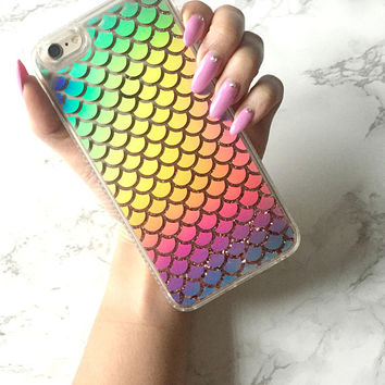 Liquid Holographic Mermaid Glitter GLAMROCK Sparkle iPhone 8 7 6s 6 Plus Case Mermaid Scale Holo Reflective Iridescent Cover Gift for Her