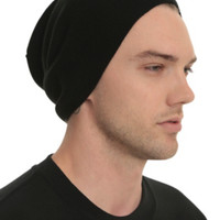 Black Lightweight Knit Slouch Beanie