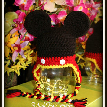 Crochet Florida Mouse Hat, Crochet Mickey Inspired Hat, Mouse Ears Beanie, Childrens Mouse Cap, Baby Mouse Ears Ear Flap Crochet Hat