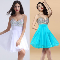 2016 CHARMING Bridesmaids dress Evening Gowns Formal Party Short prom dresses