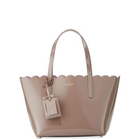 kate spade new york lily avenue small patent tote bag, porcini/rose taupe