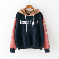 Fear Of God Womens Blue Pink White Brown Hooded Sweatshirt New Embroidery Stitching Thickened Cashmere Hoodie Casual Short Female Pullover