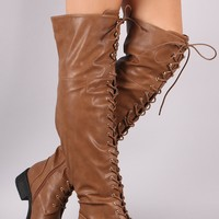 Pebbled Vegan Leather Riding Boots For Women By LUD   Fashion Women Leather Lace-Up Over the Knee Combat Riding Boots For Women