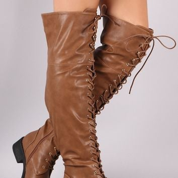 Pebbled Vegan Leather Riding Boots For Women By LUD | Fashion Women Leather Lace-Up Over the Knee Combat Riding Boots For Women