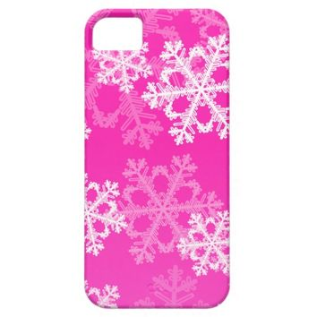 Cute pink and white Christmas snowflakes iPhone 5/5S Case