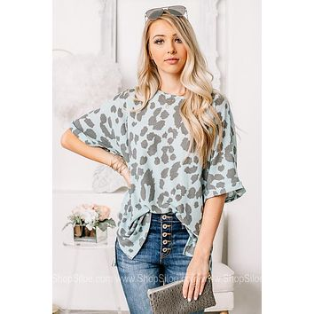 A Lovely Obsession Teal Leopard Top