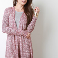 Marled Thermal Knit Long Cardigan